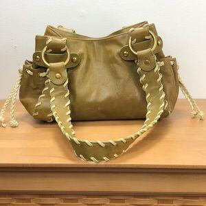 Kooba 🌺 Green Leather Braid Tote Hand Bag Purse